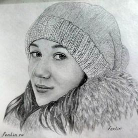 Портрет карандашом девушки в шапке - Fenlin.ru