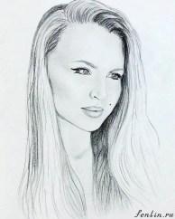 Портрет карандашом девушки блондинки с длинными волосами - Fenlin.ru
