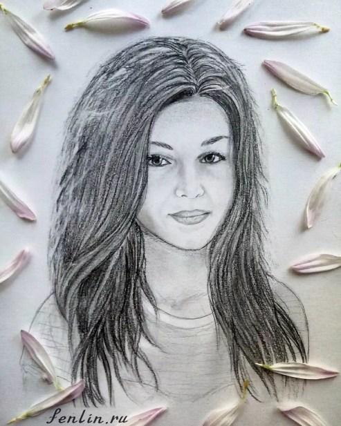 Портрет карандашом девушки с длинными волосами (фото) - Fenlin.ru