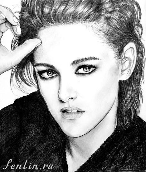 Портрет карандашом Кристен Стюарт (Kristen Stewart) - Fenlin.ru