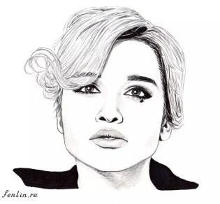 Портрет карандашом Ксении Бородиной (скан) - Fenlin.ru