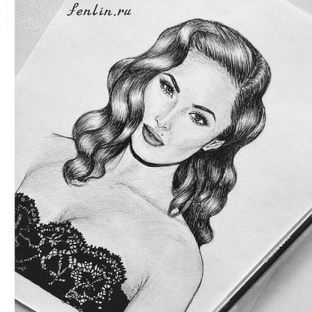 Портрет карандашом Меган Фокс (Megan Fox) - Fenlin.ru