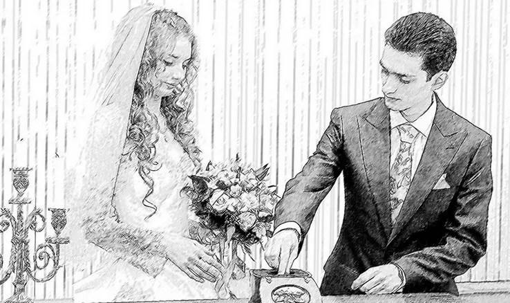 Что подарить в дополнение к деньгам на свадьбу? Портреты карандашом - Fenlin.ru