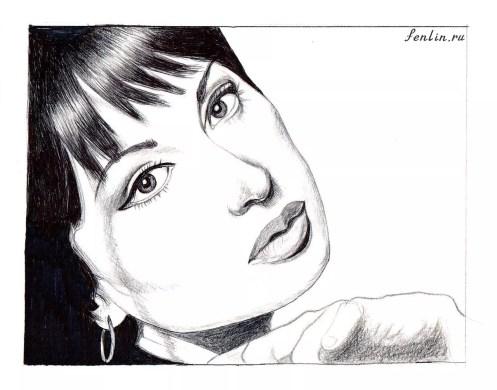 Портрет карандашом прекрасной девушки (скан) - Fenlin.ru