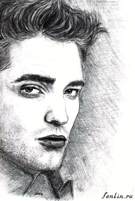 Портрет карандашом Роберта Паттинсона (Robert Pattinson) - Fenlin.ru