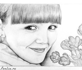 Портрет карандашом улыбающейся девушки с цветами (скан) - Fenlin.ru