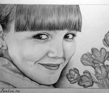 Портрет карандашом улыбающейся девушки с цветами (фото) - Fenlin.ru