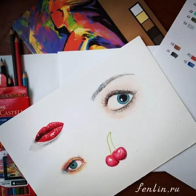 Цветной набросок карандашом глаз и губ - Fenlin.ru