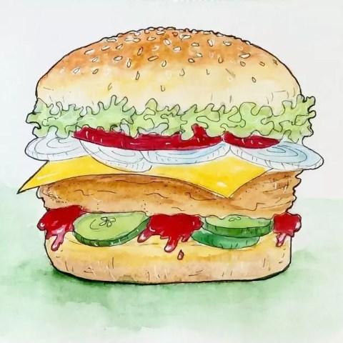 Цветной натюрморт карандашом гамбургер - Fenlin.ru