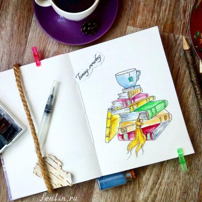 Цветной натюрморт карандашом книги и чашка - Fenlin.ru