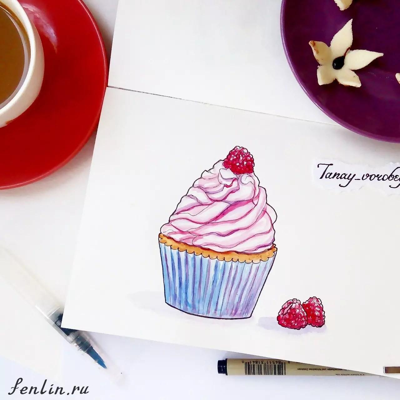 Цветной натюрморт карандашом пироженное - Fenlin.ru