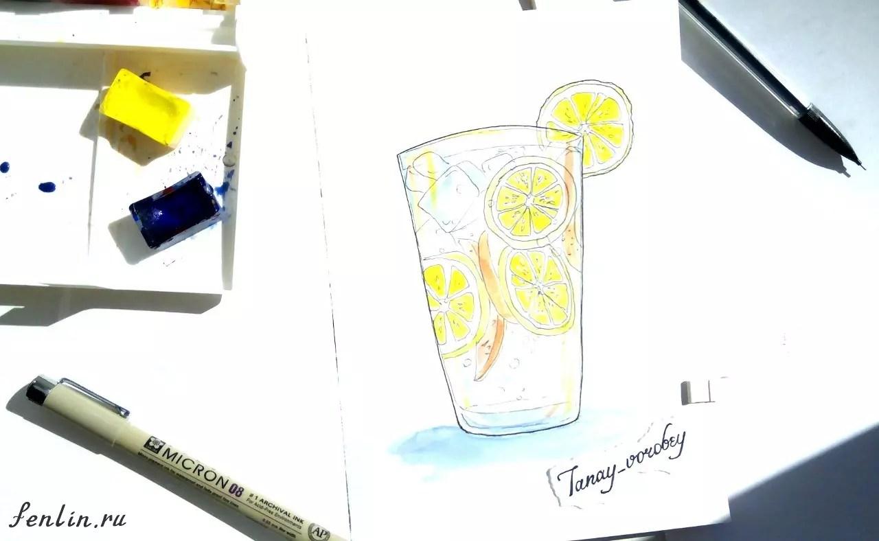 Цветной натюрморт карандашом стакан со льдом - Fenlin.ru