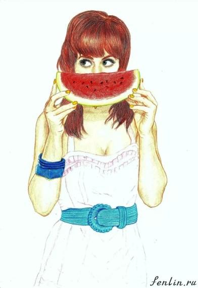 Цветной портрет карандашом девушки с арбузом (скан) - Fenlin.ru