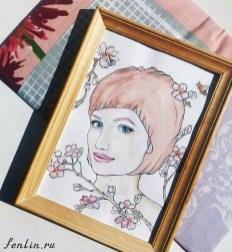 Цветной портрет карандашом девушки с цветами - Fenlin.ru