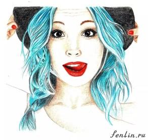 Цветной портрет карандашом девушки в шляпке (скан) - Fenlin.ru