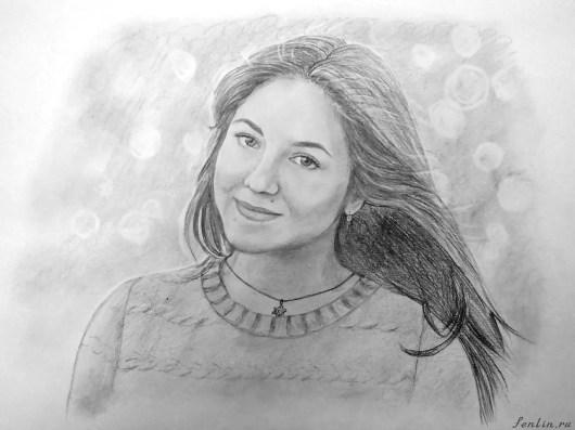 Портрет карандашом девушки Александры (фото) - Fenlin.ru