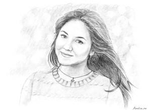 Портрет карандашом девушки Александры (скан) - Fenlin.ru