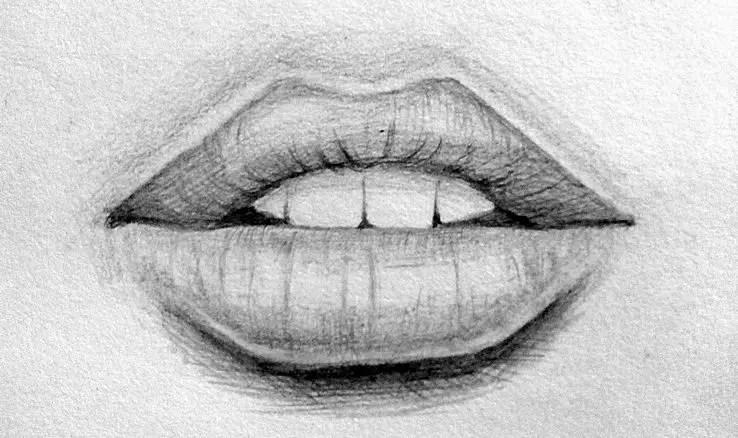 Урок рисования губы карандашом