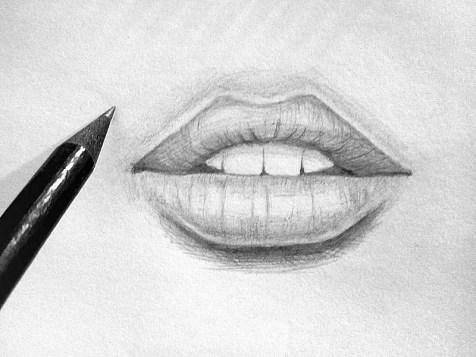 Как нарисовать губы карандашом? Шаг 9. Портреты карандашом - Fenlin.ru