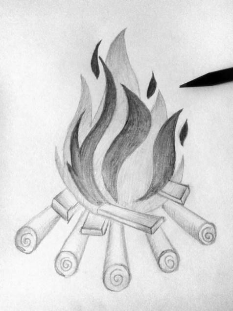 Как нарисовать огонь карандашом? Шаг 10. Портреты карандашом - Fenlin.ru