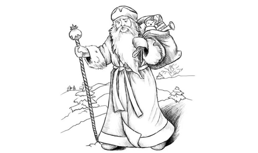 Как нарисовать Деда Мороза? Портреты карандашом - Fenlin.ru