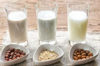 3 alternative milk glasses