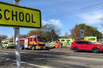 carterton school with fire trucks pulled up outside