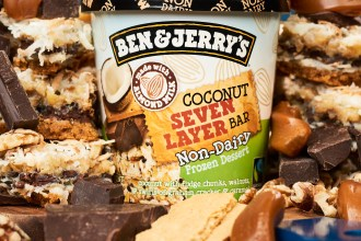 ben & jerry's coconut seven layer bar pint surrounded by chocolate, caramel, and graham crackers