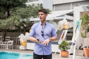 blair james presenting at a bondi sands event