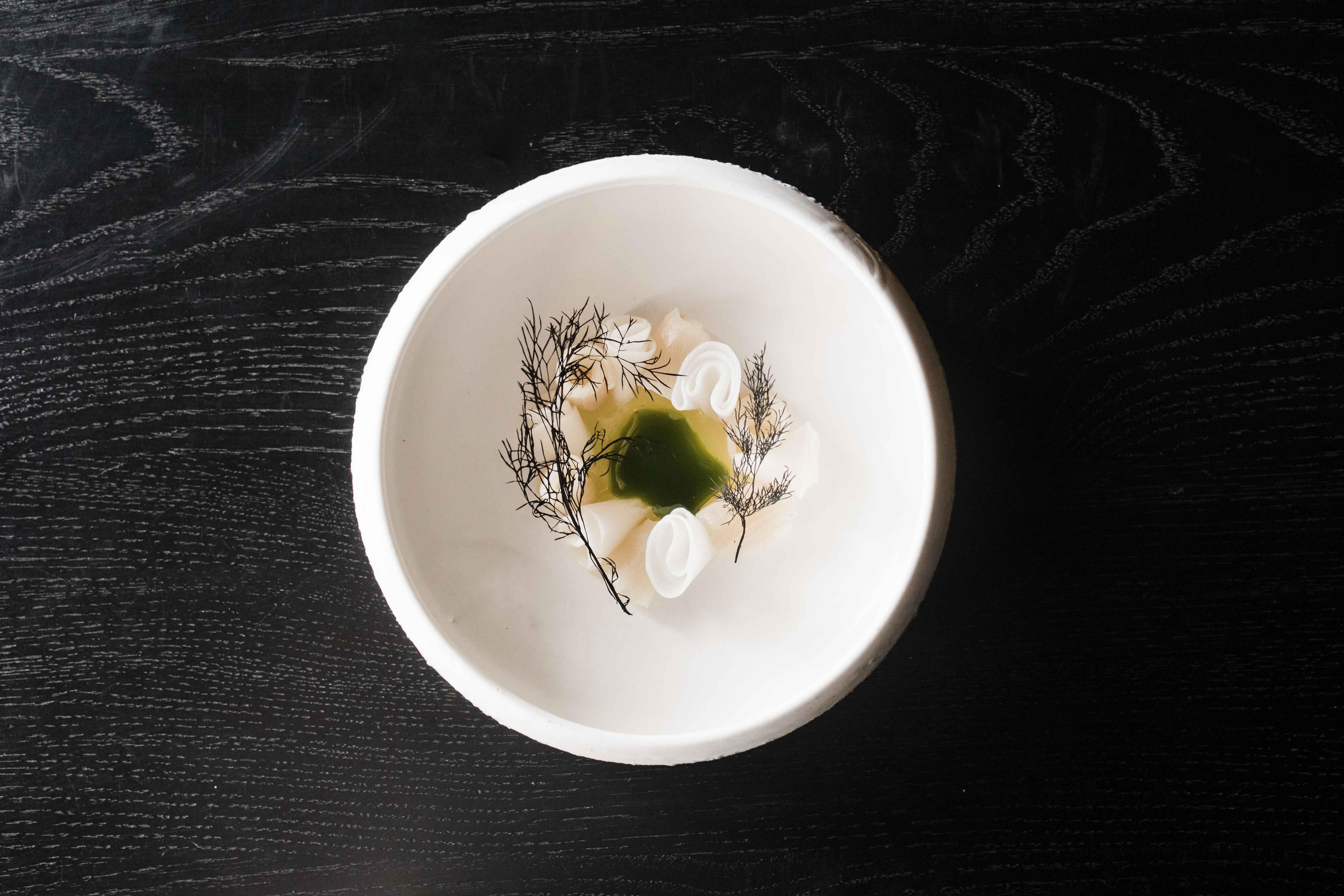 kingfish daikon green apple dashi - 1st course