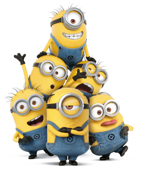 minions clamber on top of one another to reach satan