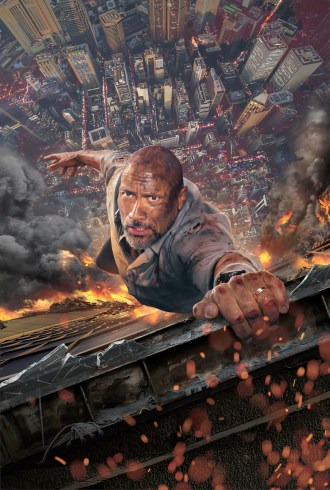 the rock grasps the ledge of a skyscraper trying not to fall off. the ground is very far down and on fire.