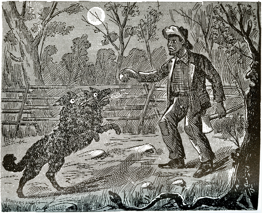 the bell witch appears as a two headed dog to the Bell family servant, Dean