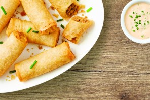 A plate of Cheeseburger Spring Rolls on a plate