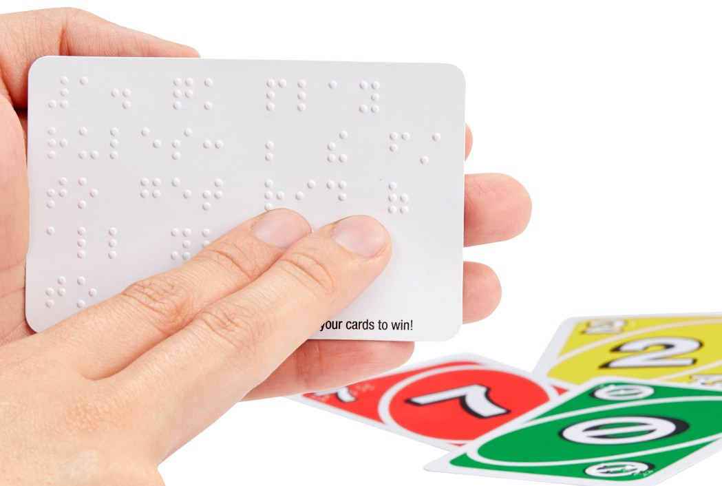 Uno Braille card with two fingers