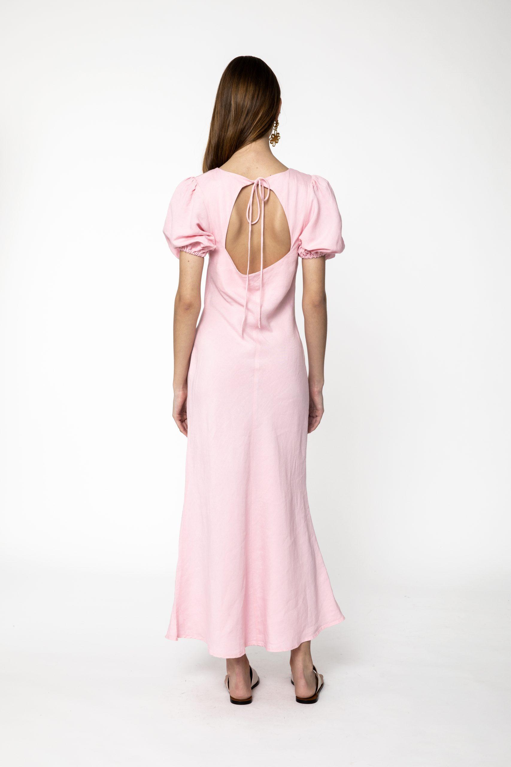 RUBY KENDALL LINEN DRESS PINK BACK