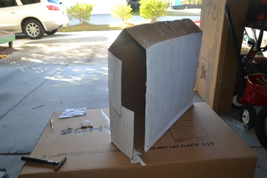 Painted DIY Cardboard Box Stable