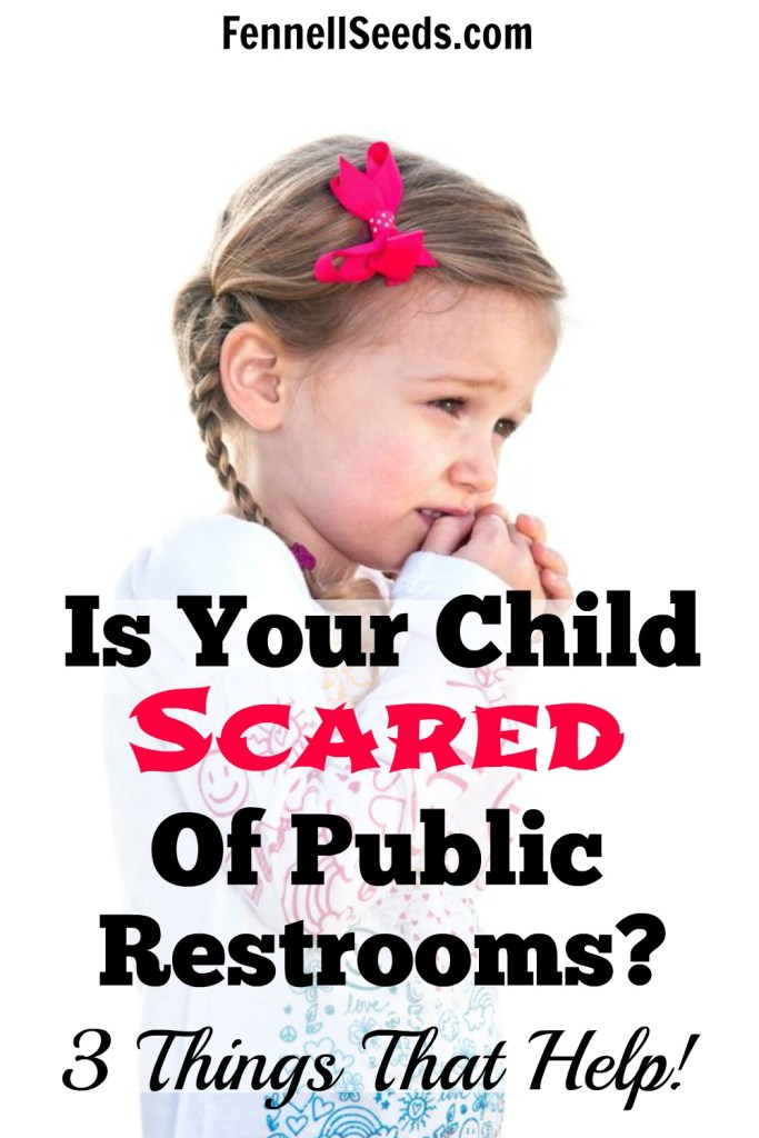 Is Your Child Scared of Public Restrooms. 3 Things That Help. My little girl hated the automatic flush in some restrooms. We still use Tip #1 to make things less scary for her.