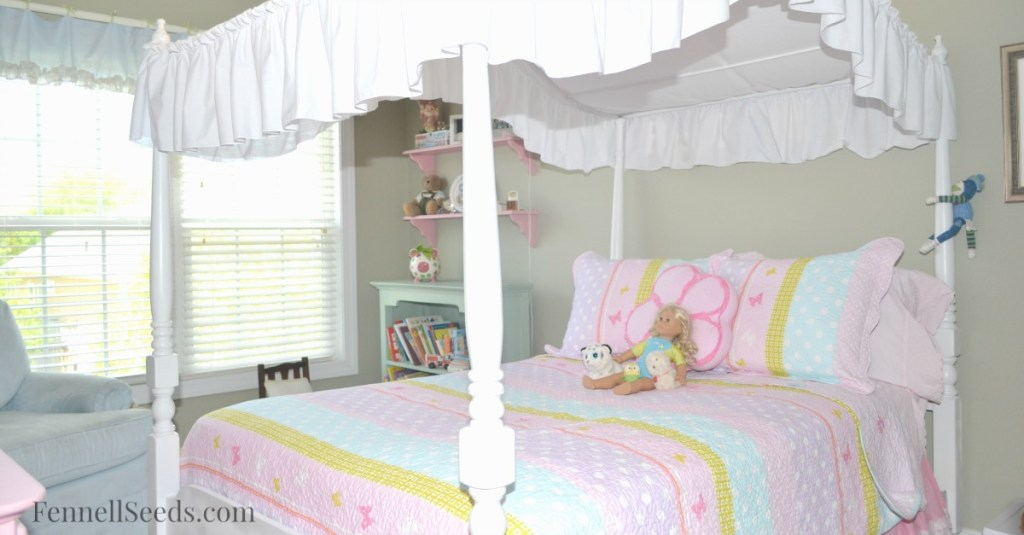 This little girl bedroom was ordered online. I love that it incorporates blue in a little girls room.