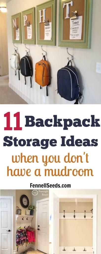 Backpack storage   Backpack storage ideas   Coat storage   Coat rack   coat hook   backpack hook   place for backpacks   mudroom organization   mudroom ideas