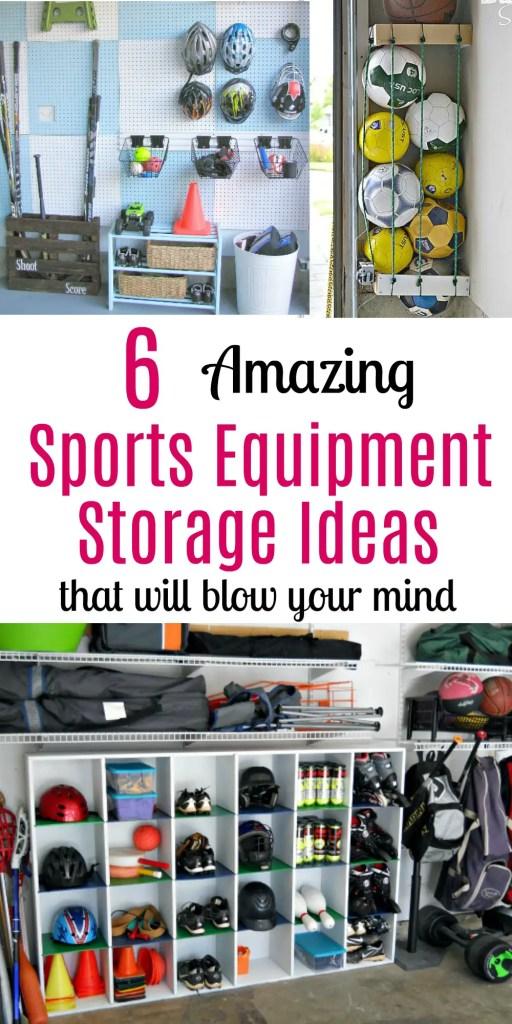 sports equipment storage | garage organization | how to store sports gear | store sports equipment | sports equipment organization | Scooter storage | ski equipment organization | hockey storage