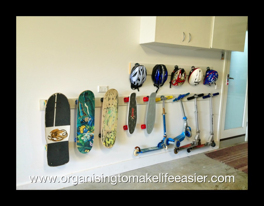 sports equipment storage | garage organization | how to store sports gear | store sports equipment | sports equipment organization | Scooter storage | ski equipment organization