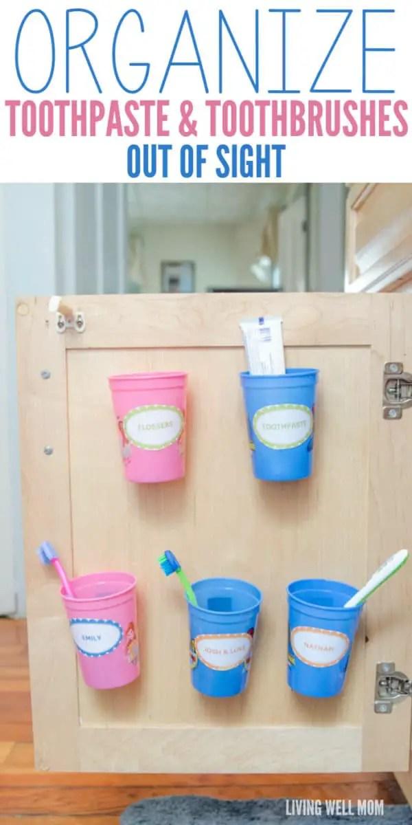 Bathroom Storage Hacks to help make your mornings easier. Toothbrush Organization