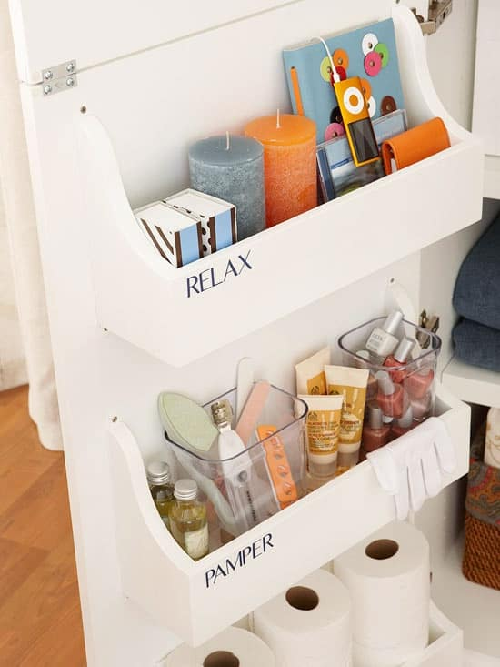 Bathroom Storage Hacks to help make your mornings easier. Under cabinet storage.