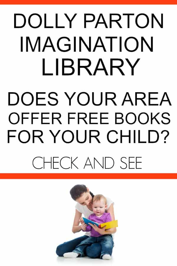 Dolly Parton Imagination Library offers free books for kids. Check out if your area qualifies for one book to be sent each month. #childrensbooks