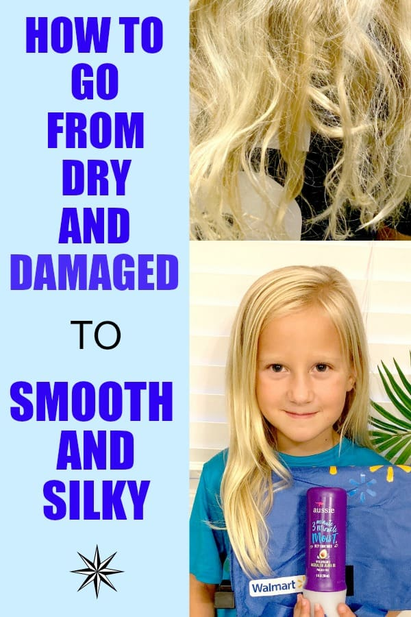 How to fix dry chlorine-damaged hair to be ready for back to school. #AD In 3 minutes the damaged hair can become smooth and silky.#BacktoSchoolatWalmart #Aussie