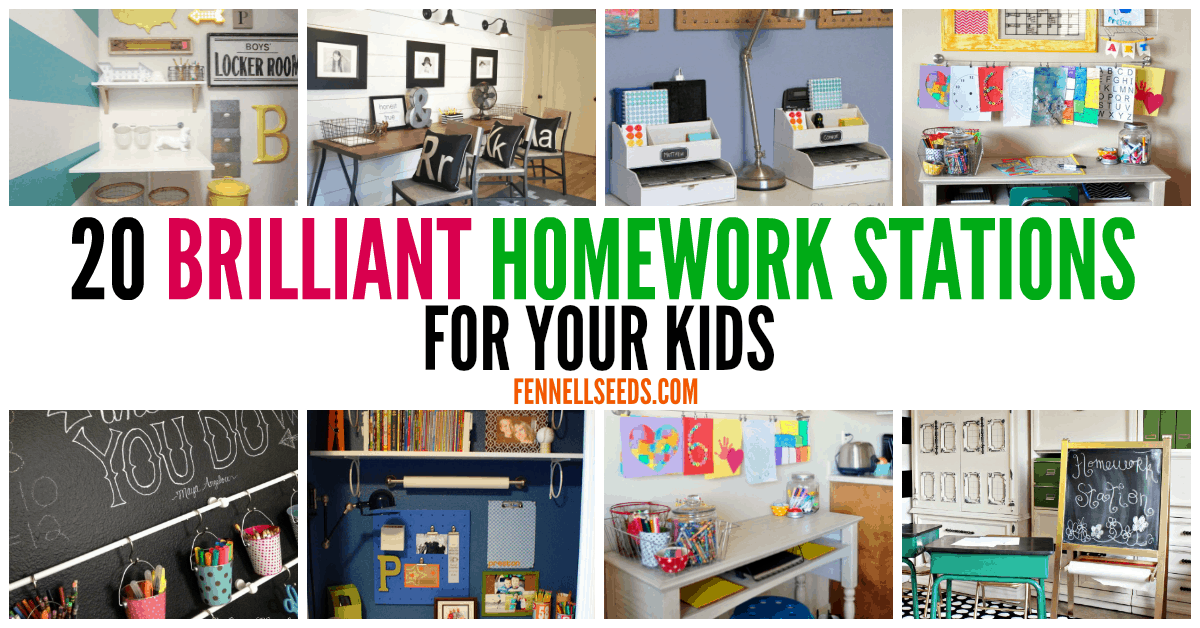 Genius Homework Stations Your Kids Will Love. These homework command centers will help define where homework should be done for your kids.