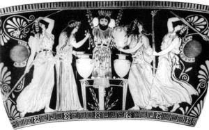 women-offering-wine-before-an-idol-of-dionysus-greek-vase