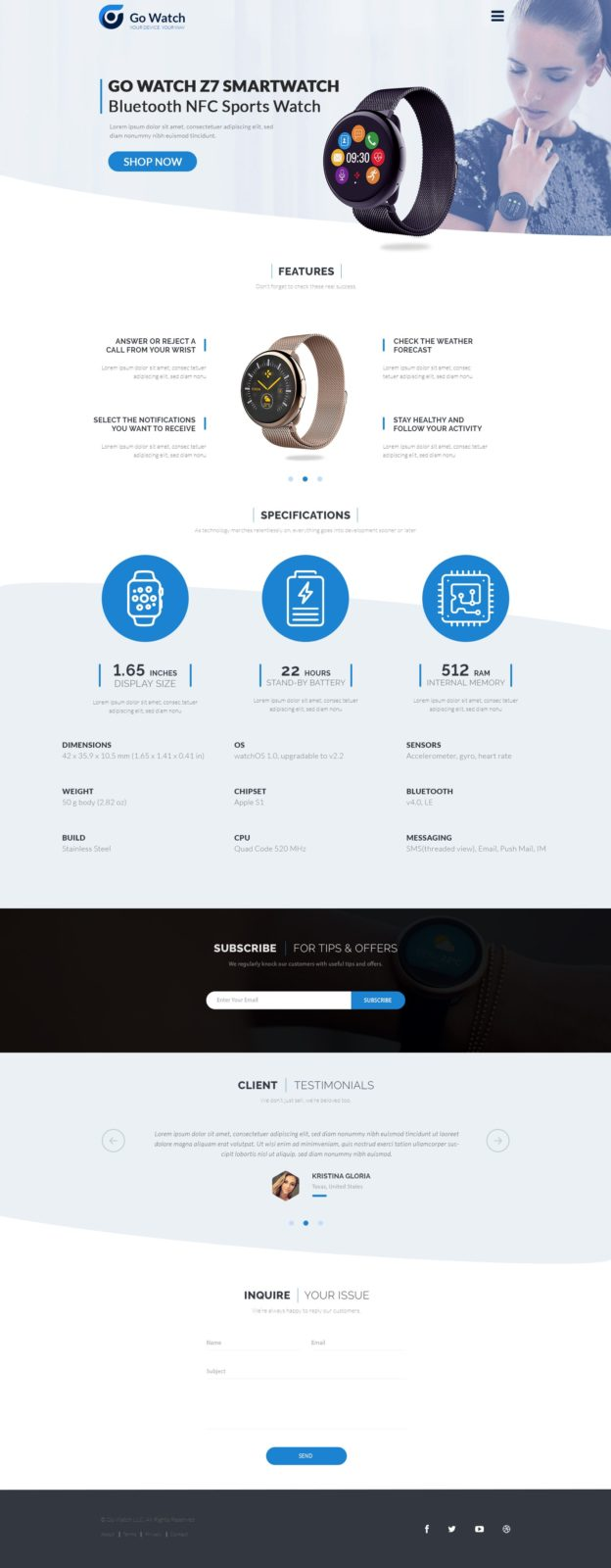 Landing Page Product - One Page PSD Template