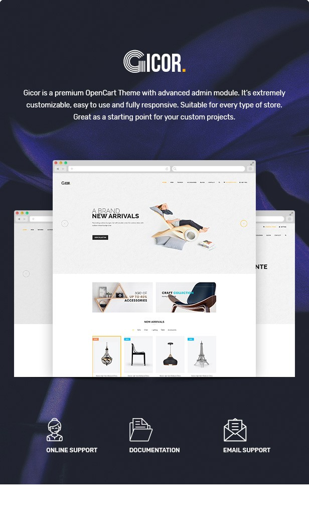 Gicor - Furniture OpenCart Theme (Included Color Swatches)